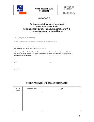 ANNEXE : 2 DECLARATION DE BON FONCTIONNEMENT D'UNE INSTALLATION RADIO NE COMPORTANT QU'UNE INSTALLATION EMETTEURS VHF SANS EQUIPEMENT DE SURVEILLANCE
